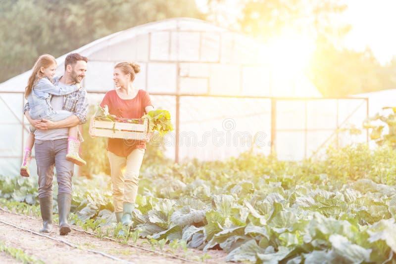 Photo de la famille Happy des fermiers marchant avec des légumes dans des caisses pleines de choux à la ferme image stock