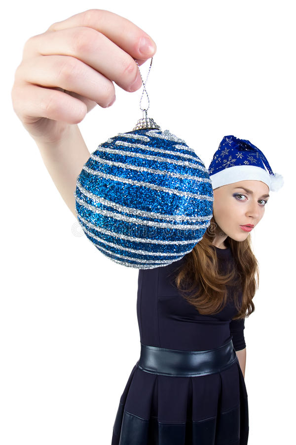 Photo de la femme avec la boule de Noël photos stock