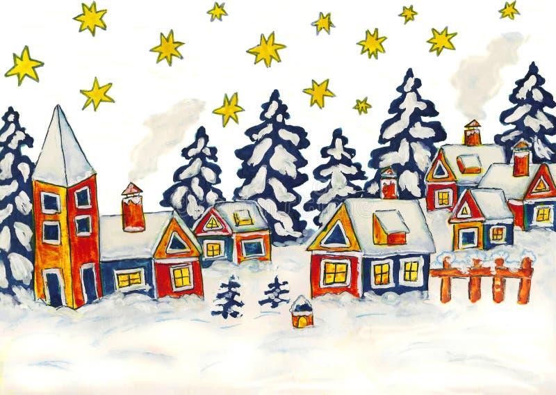 Photo de Noël dans des couleurs bleues et jaunes illustration de vecteur