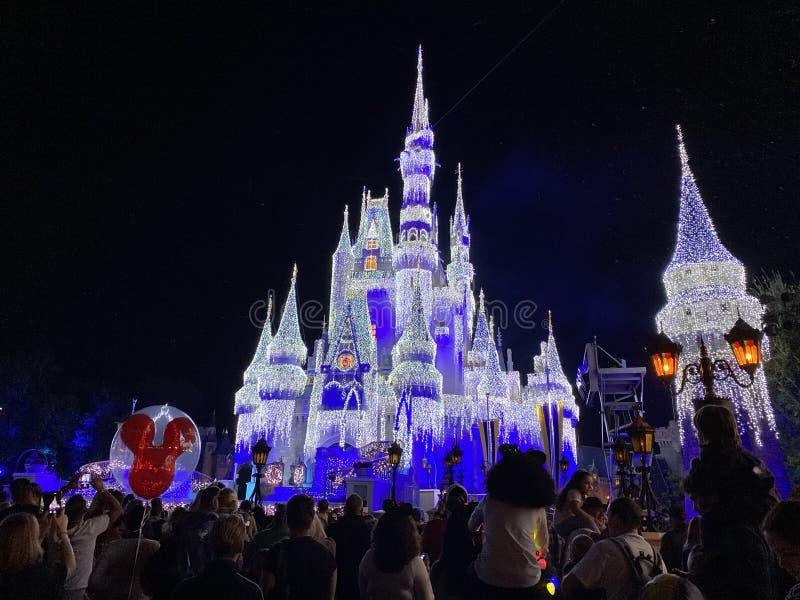 Photo de nuit Château de Disney Magic Kingdom drapé de lampes de fête images libres de droits