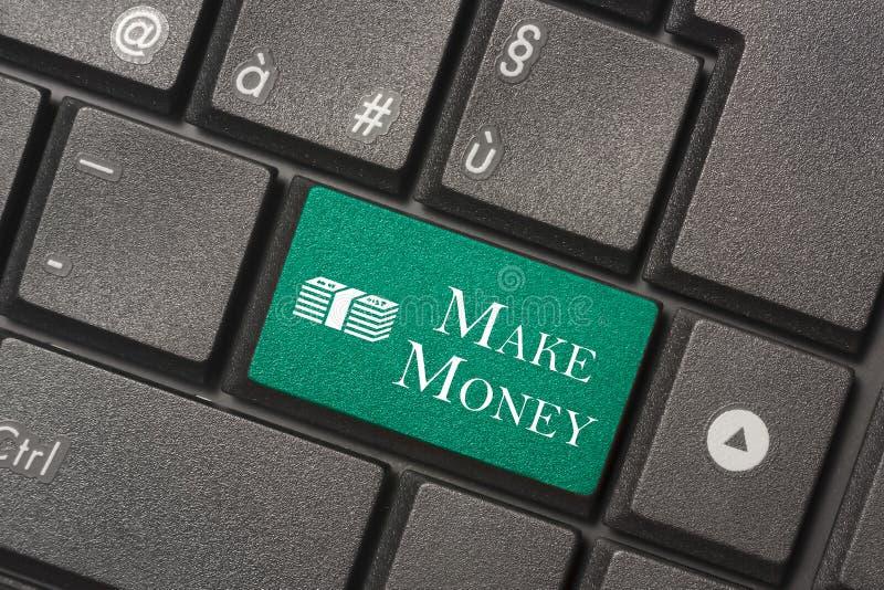 Photo de plan rapproché de bouton d'argent Make de clavier d'un ordinateur moderne photographie stock