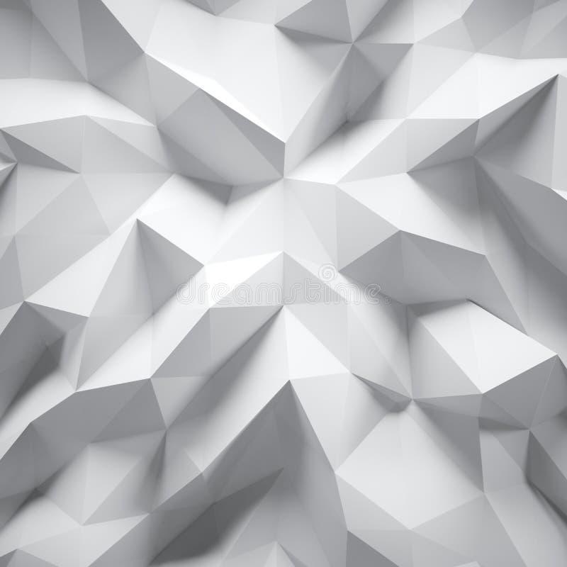 Photo de polygone blanc fortement détaillé Bas poly style triangulaire fripé géométrique blanc Graphique abstrait de gradient illustration libre de droits