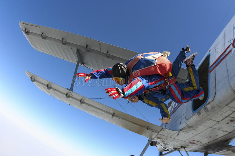 Photo de Skydiving. Tandem. images libres de droits