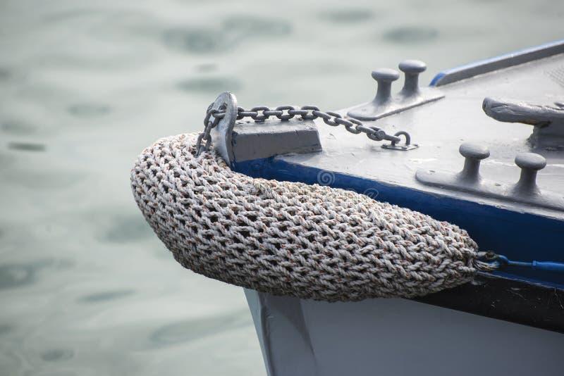 Photo de style de vintage de beaux détails de bateau à voile Corde, coque photo stock