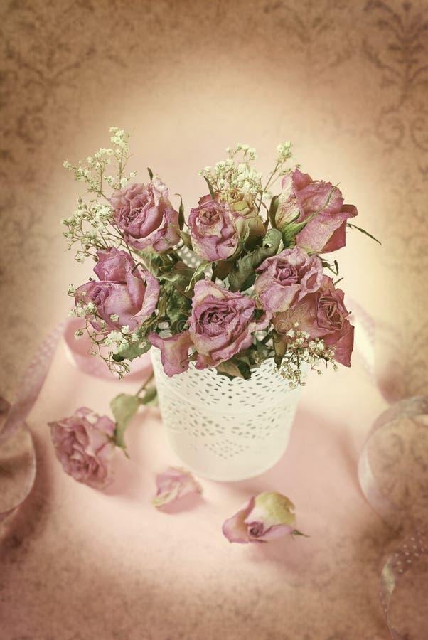 Photo de style de vintage des roses sèches dans le vase photographie stock