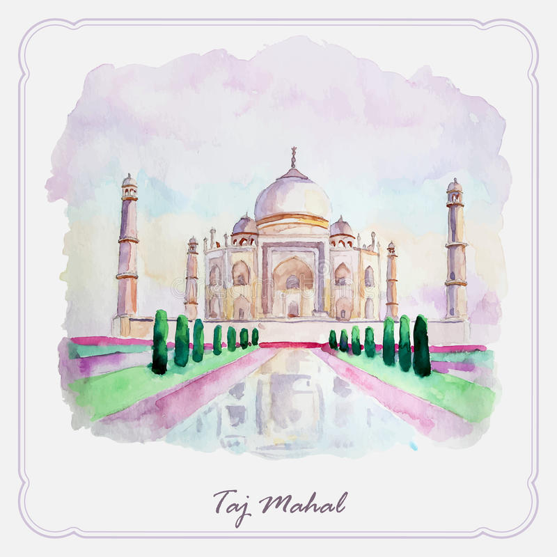 Photo de Taj Mahal d'aquarelle Carte de voeux illustration libre de droits