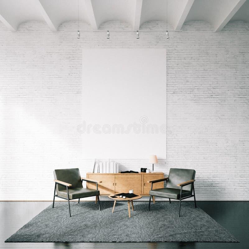 Photo de toile vide sur le mur de briques blanc photos libres de droits