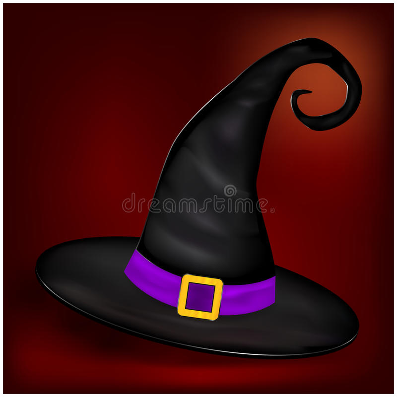 Photo de vecteur de chapeau réaliste de sorcières de Halloween Illustration sur le fond gentil illustration libre de droits