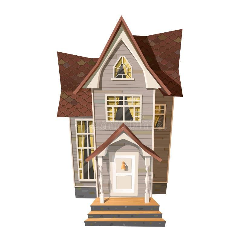 Photo de vieux manoir sur le blanc Dirigez l'illustration de la vieille maison victorienne de style d'isolement sur le blanc illustration stock