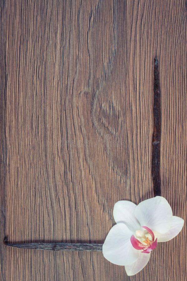 Photo de vintage, orchidée de floraison et bâtons parfumés de vanille, l'espace de copie pour le texte photos stock