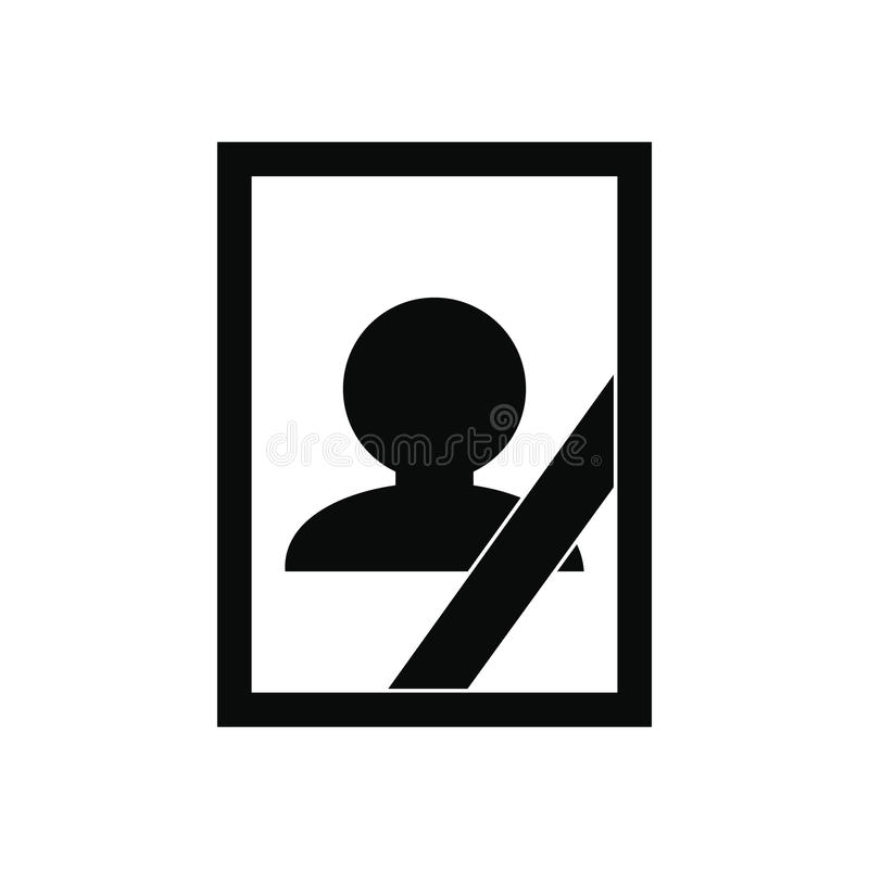 Photo of deceased icon. Photo of deceased black simple icon on white background stock illustration