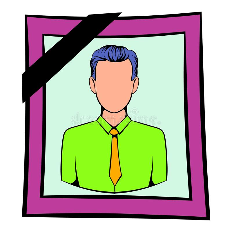 Photo of deceased icon, icon cartoon. Photo of deceased icon in icon in cartoon style isolated vector illustration stock illustration