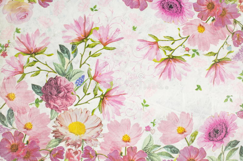 Photo of a decoupage decorated flower pattern. Photo of a handmade decoupage decorated flower pattern stock photography
