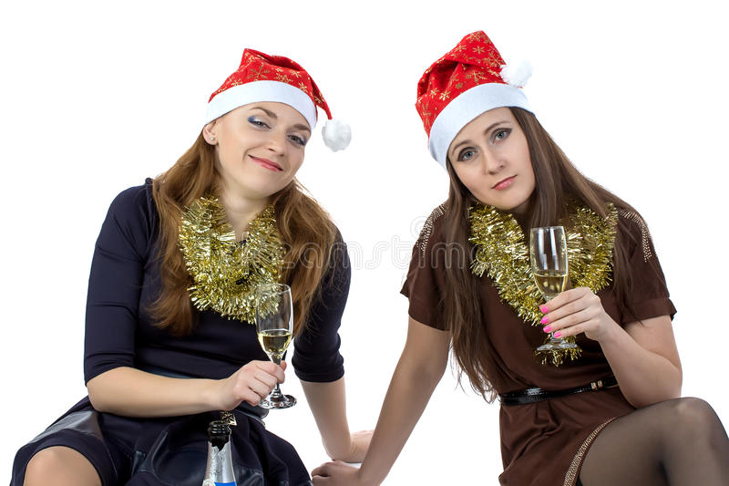 Photo des femmes d'amusement avec les verres images stock