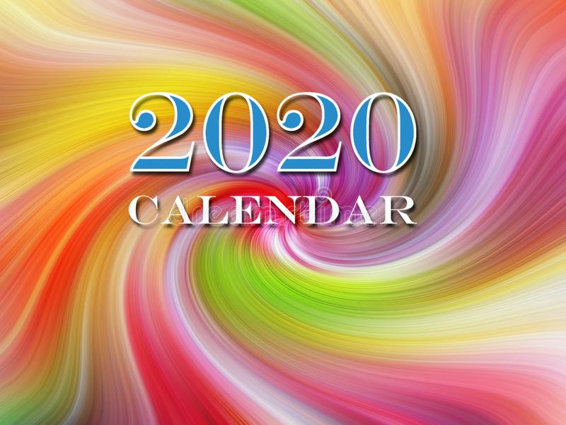 New year years 2020 calendar planner page cover front text stock illustration