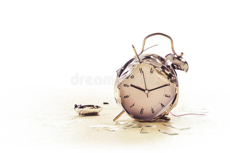 Photo of a destroyed alarm clock stock photography