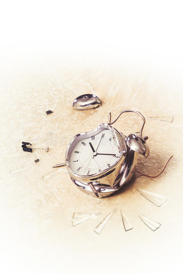 Photo of a destroyed alarm clock stock image