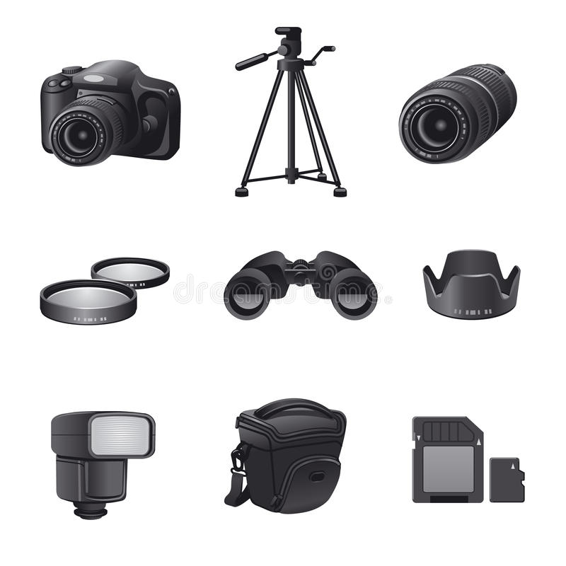 Photo devices gray icon set. Photo accessories and devices gray icon set stock illustration