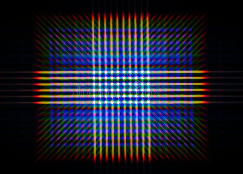 Photo of the diffraction pattern of LED array light, comprising a large number of diffraction orders royalty free stock photography