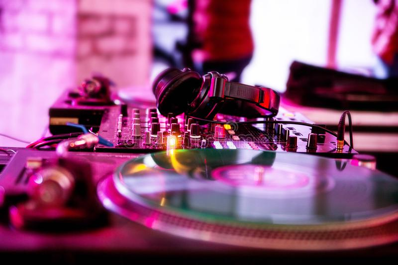 DJ equipment at the party. Photo of DJ equipment at the party royalty free stock image