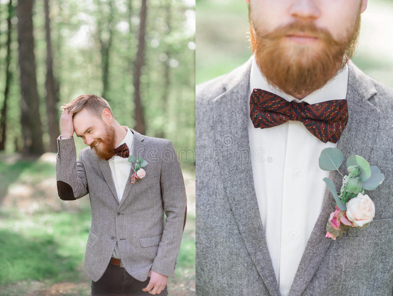 Photo doublée de marié élégant dans la veste grise photographie stock libre de droits