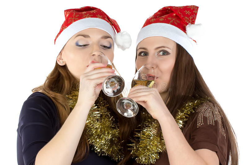 Photo of drinking women with the glasses stock images