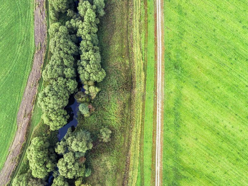 Photo with a drone field royalty free stock photo
