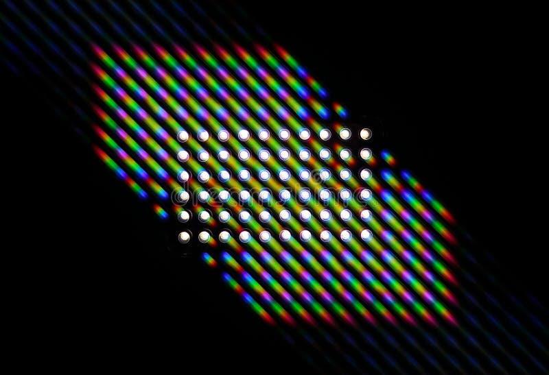 Photo du diagramme diffraction de la lumi?re de rang?e de LED, comportant un grand nombre d'ordres de diffraction illustration stock