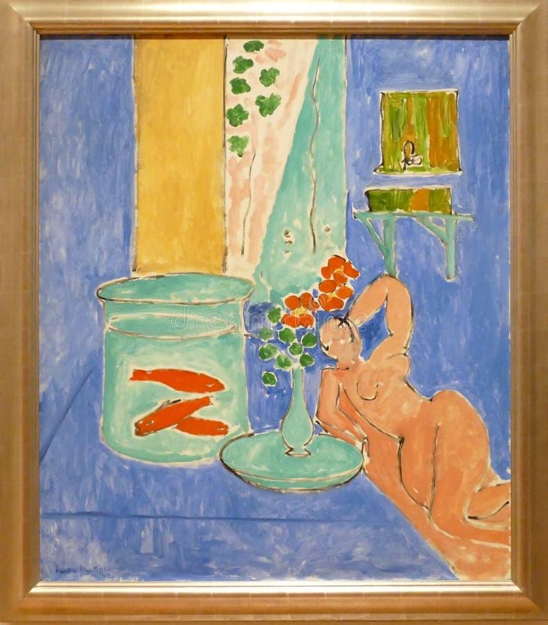 Photo du ` original de poisson rouge et de sculpture de ` de peinture par Henry Matisse images libres de droits
