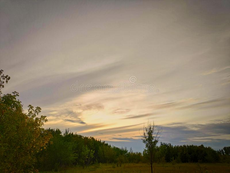 Photo du paysage prise un jour d'été dans l'après-midi avec un ciel magnifique avec des nuages de cirrus, des champs verts, des a photographie stock libre de droits