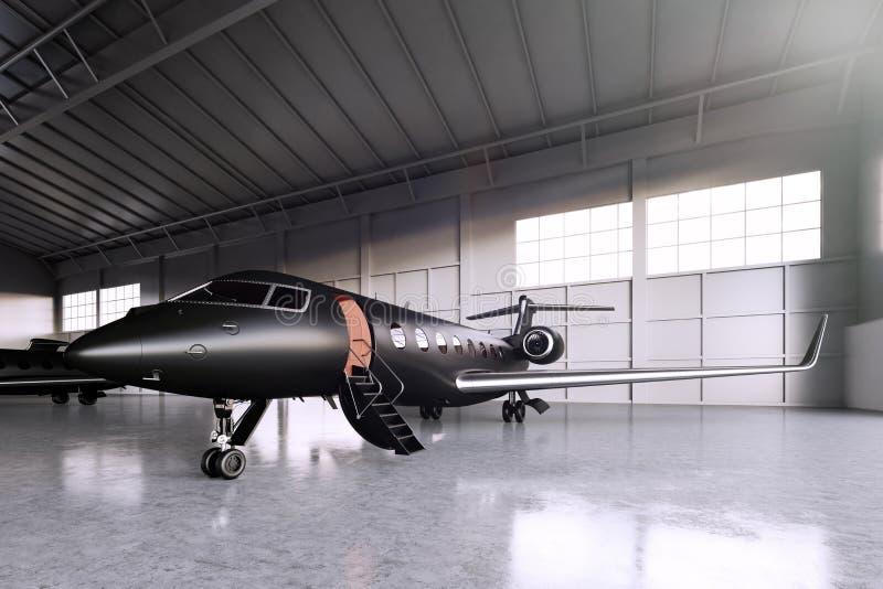 Photo du stationnement noir de jet de Matte Luxury Generic Design Private dans l'aéroport de hangar Plancher en béton Course d'af illustration libre de droits