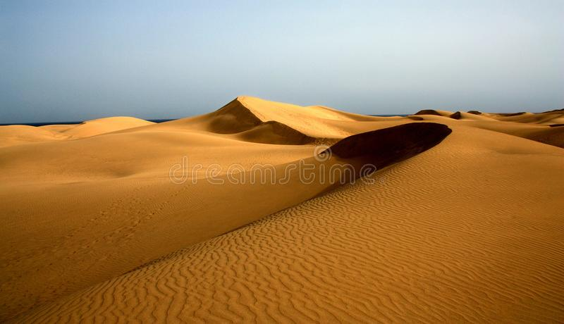 Photo of the dunes of Maspalomas in Playa del Ingles, Gran Canaria, Spain stock photography
