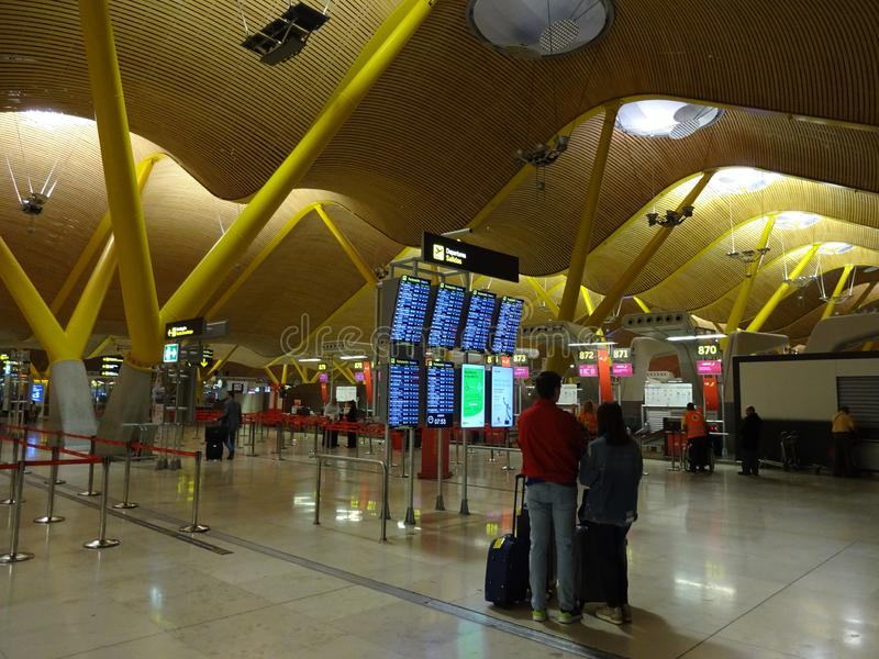 Early Morning at Terminal Four Madrid Airport in Spain royalty free stock image