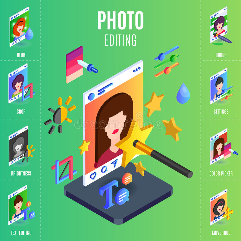 Photo editings infographic for social media networks. stock photos