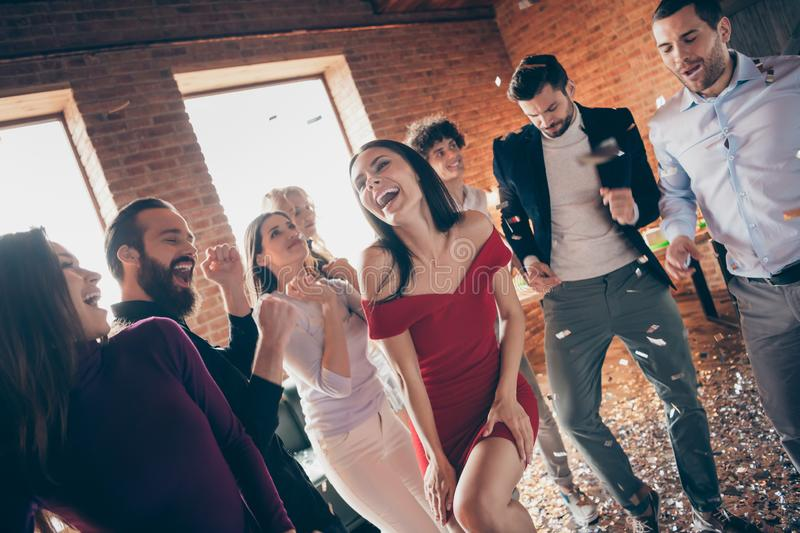 Photo of eight friends dance floor spending x-mas students party together little drunk alcohol bar crazy dancing wear stock photo