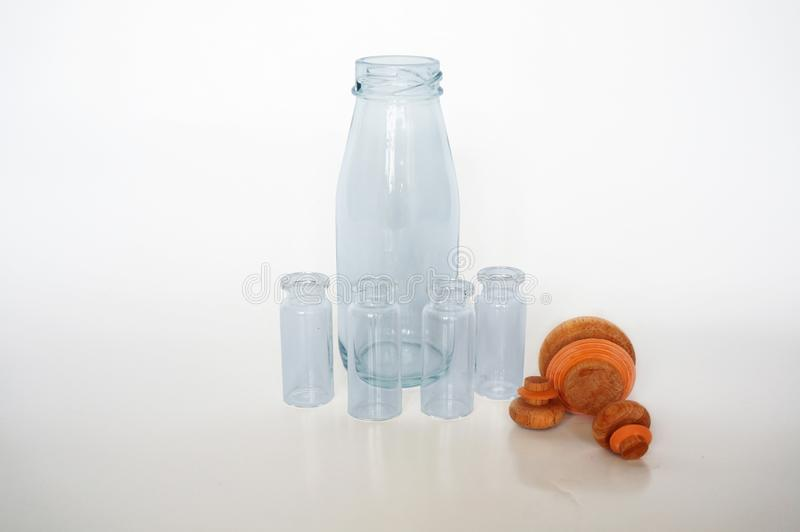 Closeup of empty blue glass bottles royalty free stock photo