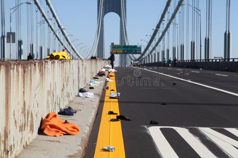 Empty Bridge Filled With Clothes After New York Marathon stock image