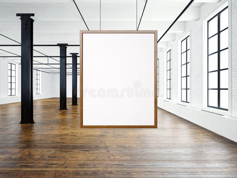 Photo of empty interior in modern loft. Open space loft.Empty white canvas hanging on the wood frame. Wood floor, bricks stock illustration