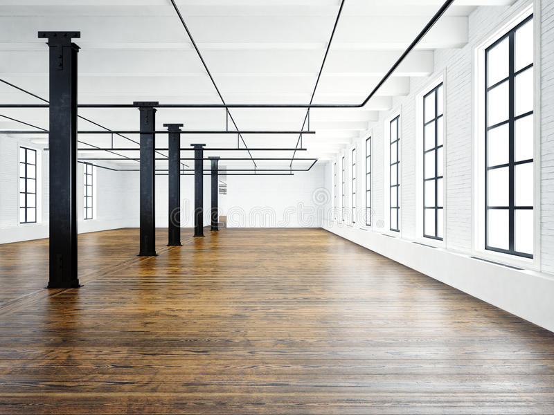 Photo of empty museum interior in modern building.Open space loft. Empty white walls. Wood floor, black beams,big royalty free illustration