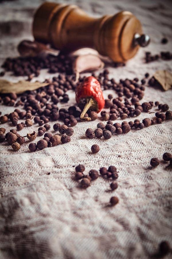 Photo en gros plan des fruits du poivre noir, du poivron rouge et de l'ail sur le tissu de toile photo stock