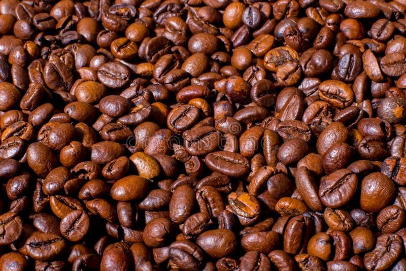 Photo en gros plan rôtie de grains de café macro image libre de droits
