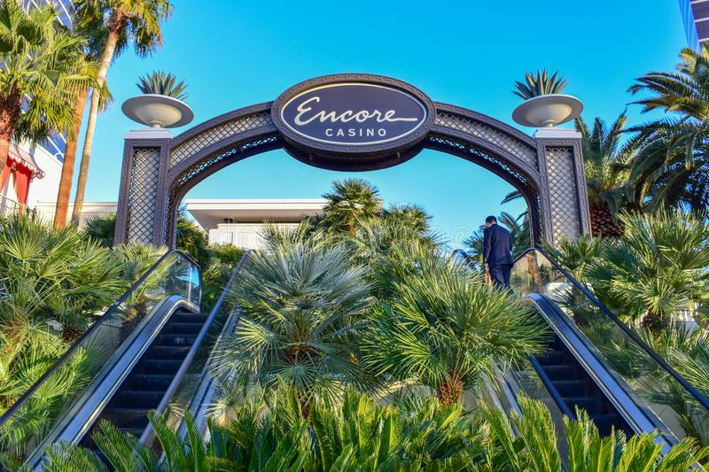 Encore at Wynn Las Vegas Entrance with Palm Trees stock images
