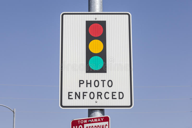 Photo Enforced Traffic Light Sign royalty free stock photos