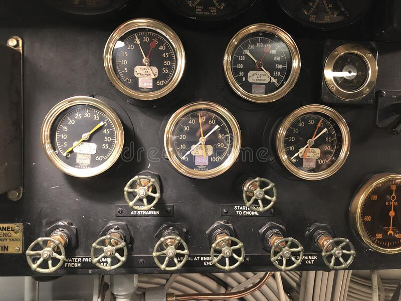 Photo of the engine room of world war two American submarine royalty free stock photography