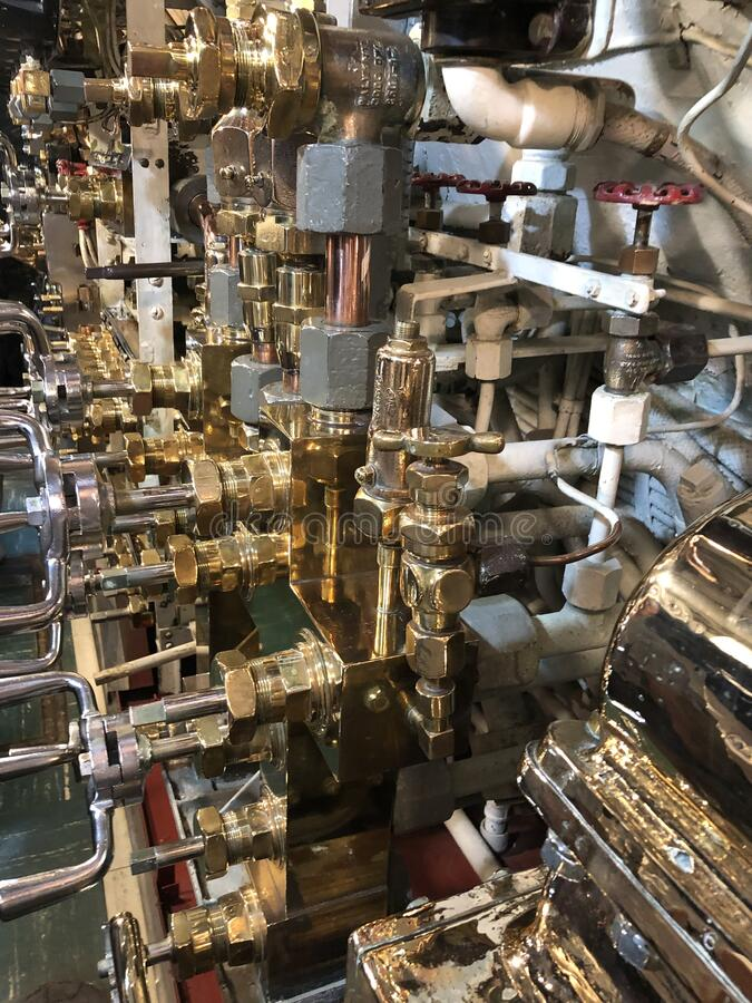 Photo of the engine room of world war two American submarine royalty free stock photos