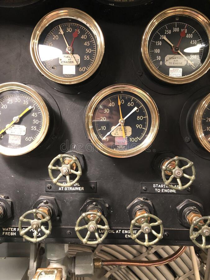 Photo of the engine room of world war two American submarine stock images
