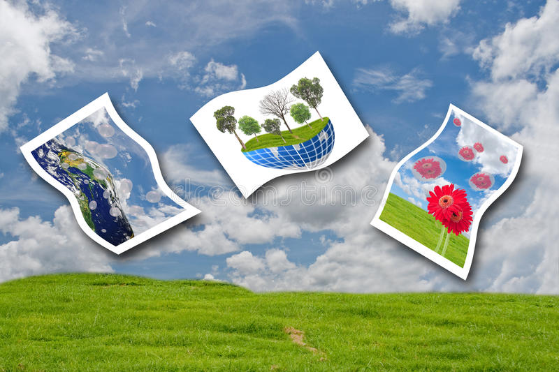 The photo of environment. The photo of environment on grass field and sky background stock photos