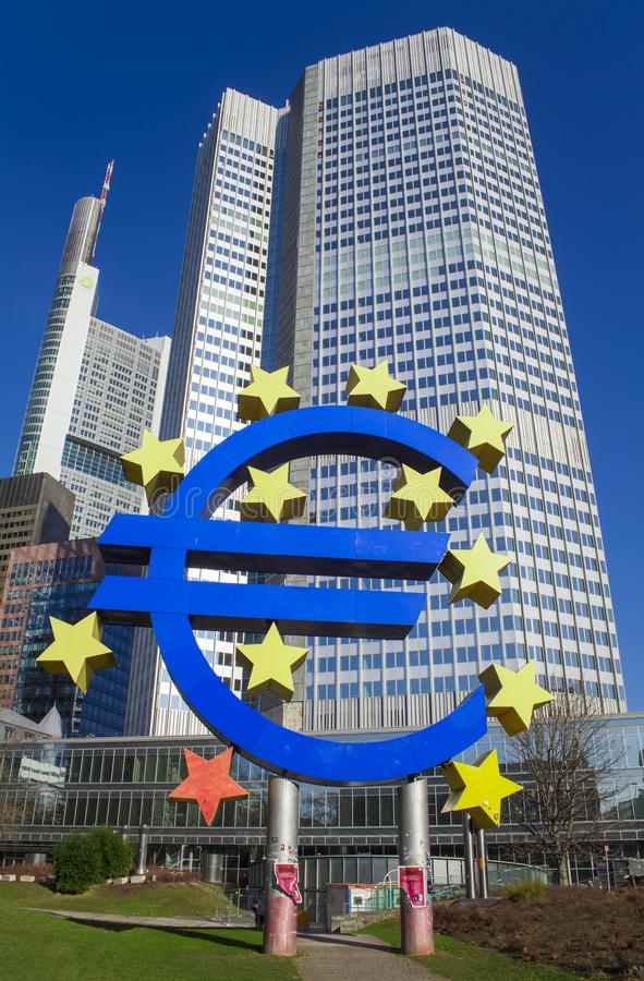 Photo of European Central Bank, one of the world`s most important central banks. it is situated in Frankfurt am Main city, German royalty free stock photography