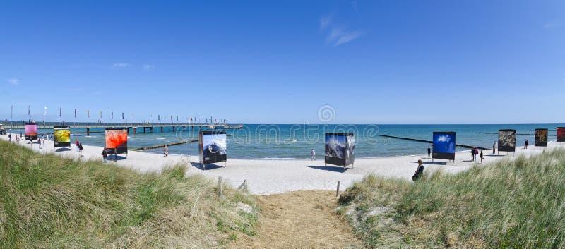 Photo exhibition at the beach royalty free stock photos