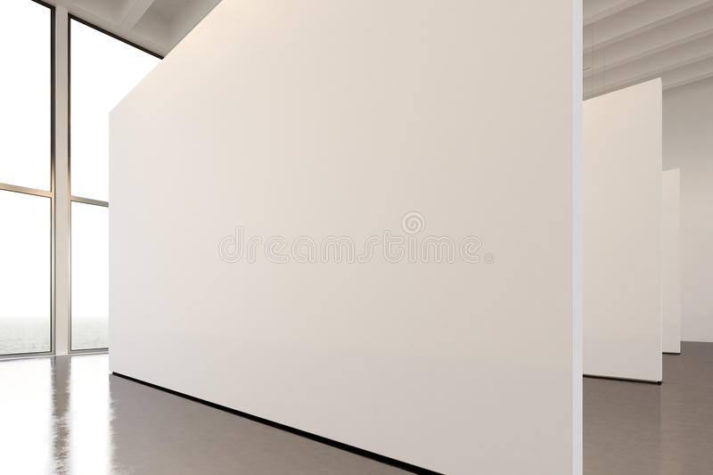 Photo exhibition space modern gallery.Big white empty canvas hanging contemporary art museum.Interior loft style with. Concrete floor, spotlight,generic design stock photo